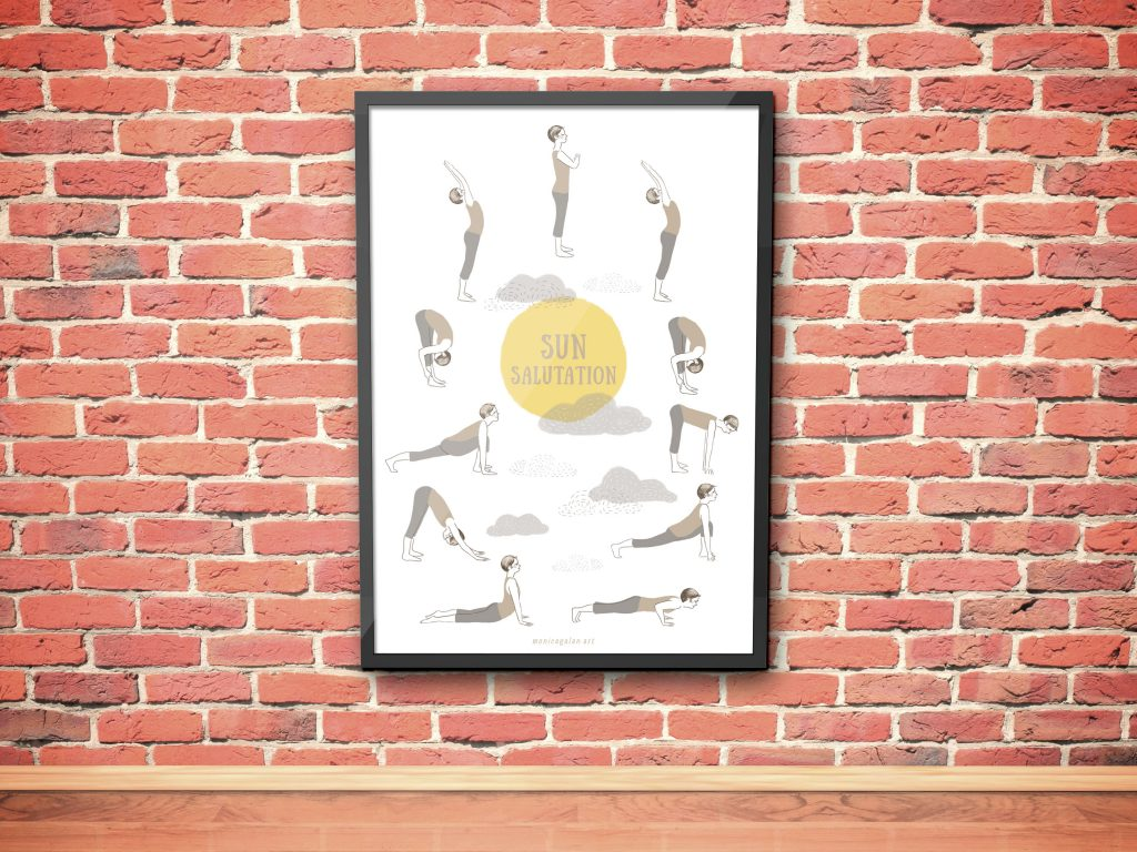 Image of a poster on a red brick wall with an Illustrated Sun Salutation sequence-.