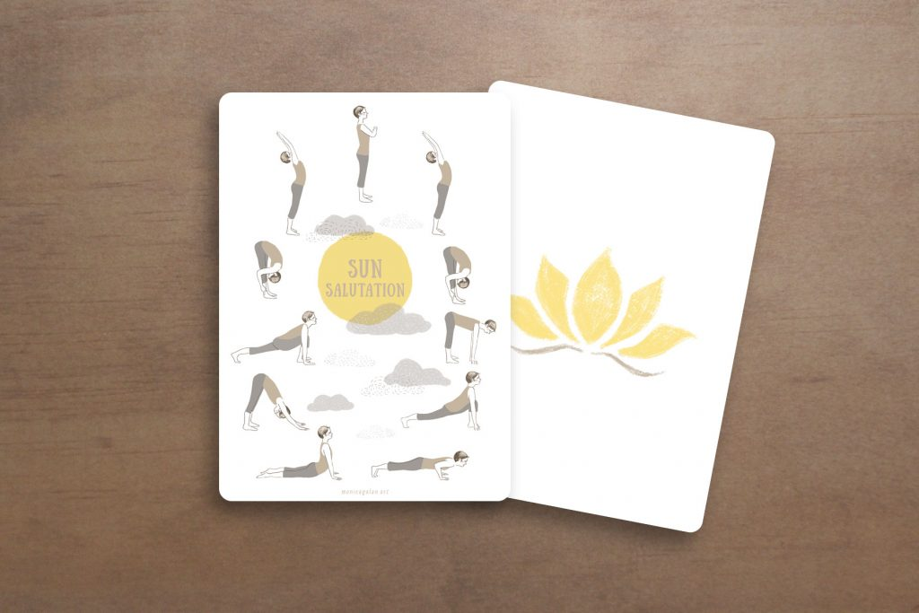 Image of a postcard with an Illustrated Sun Salutation sequence.