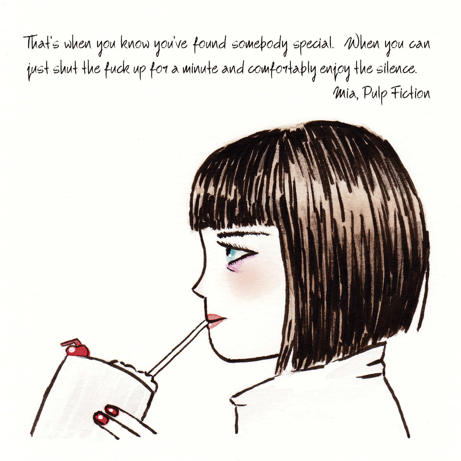 Illustrated quote form the movie Pul Fiction.