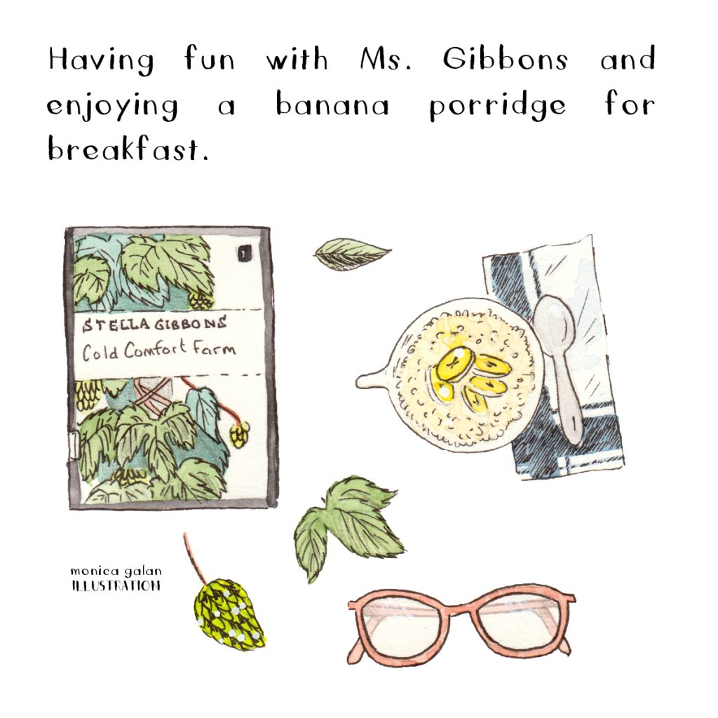 Illustration of a book, glasses and breakfast.