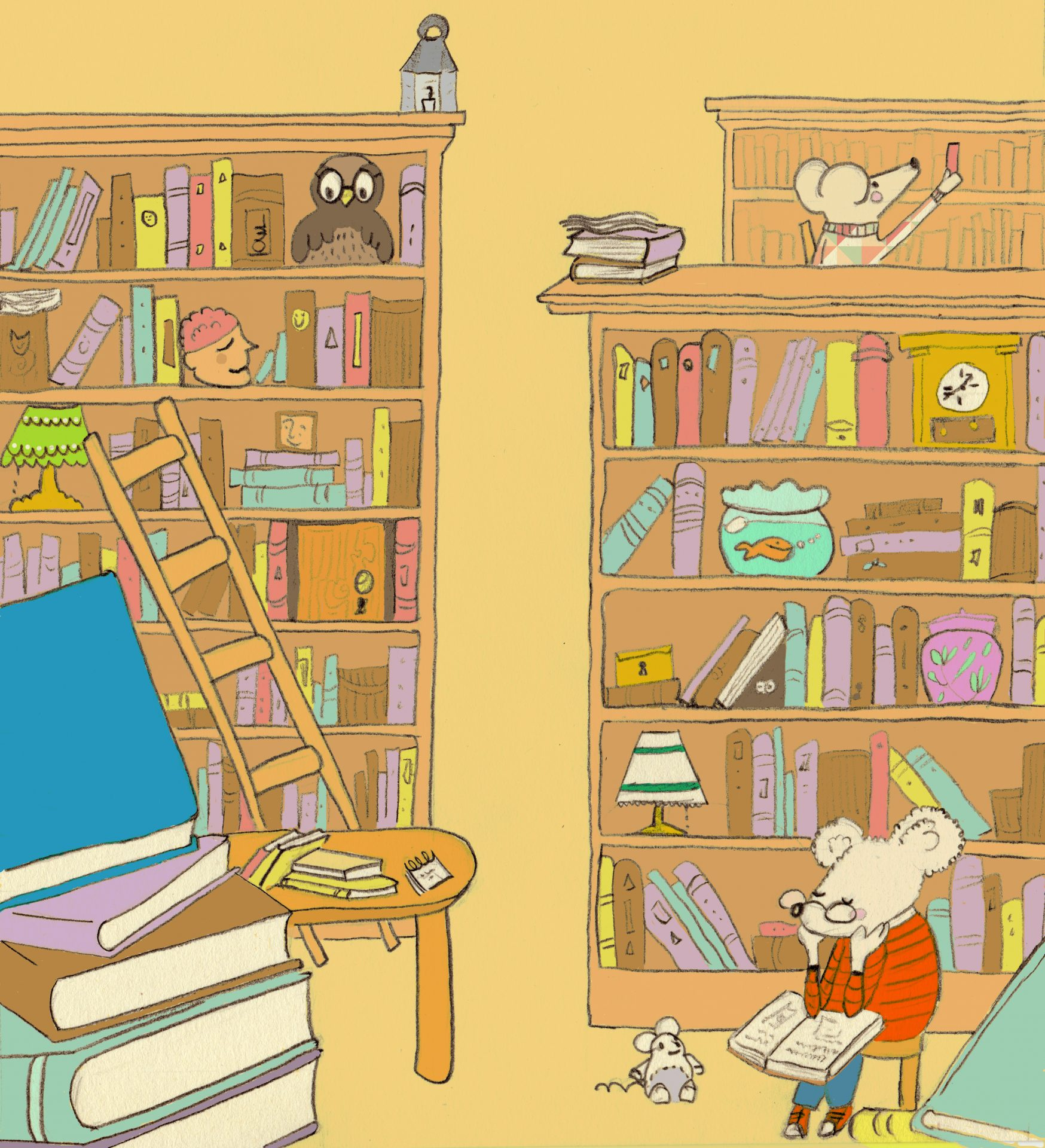 Illustration of a library and mice checking out the books.