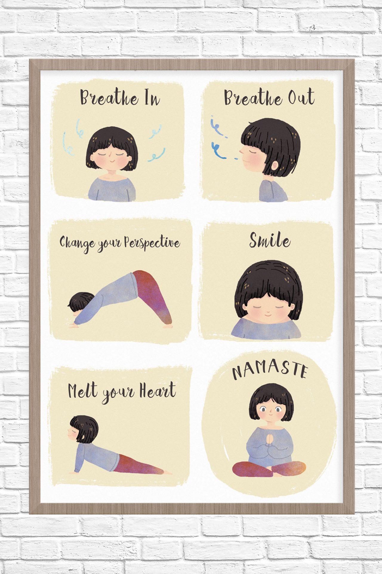 Yoga poster illustration.