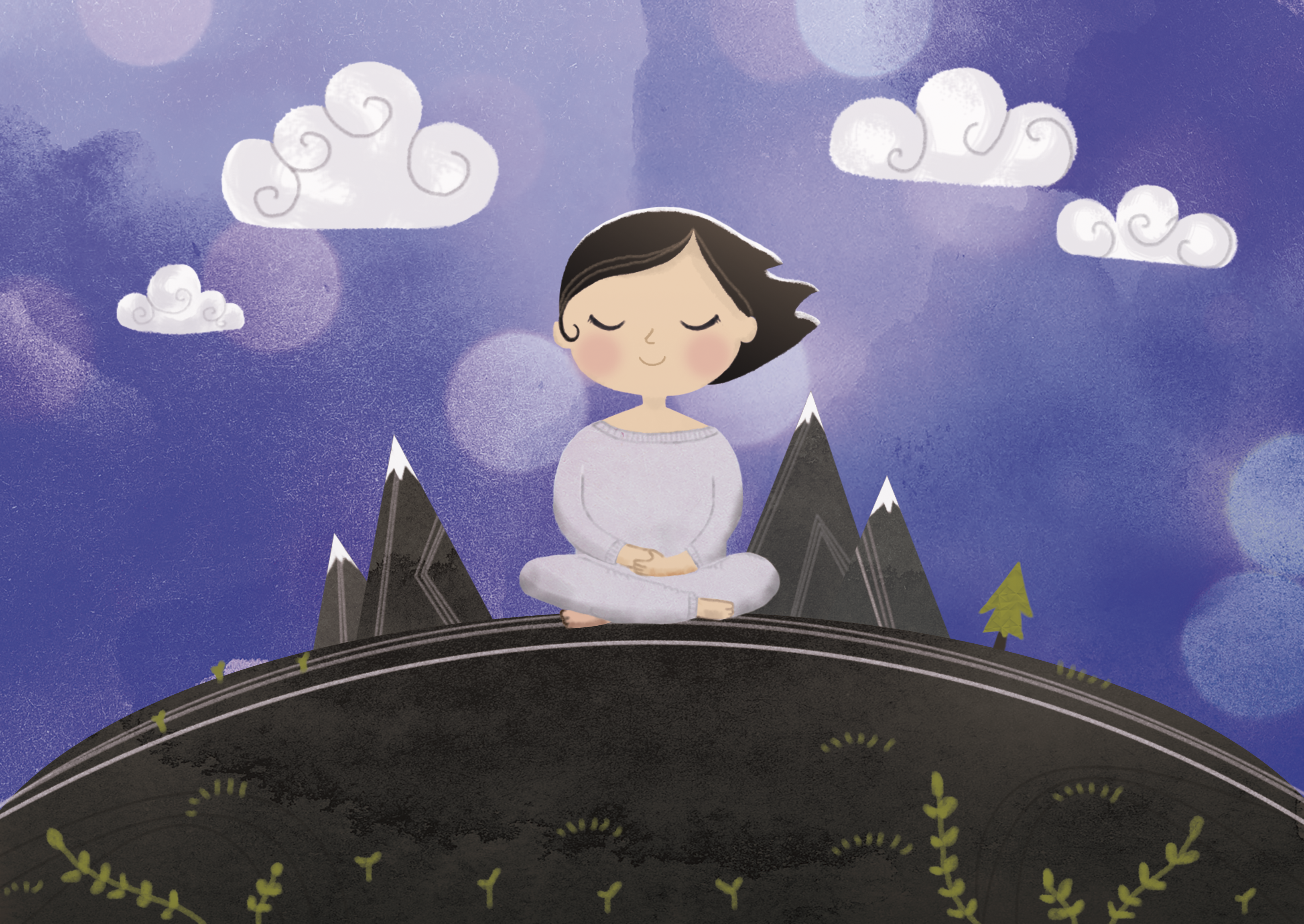 Illustration of a girl meditating