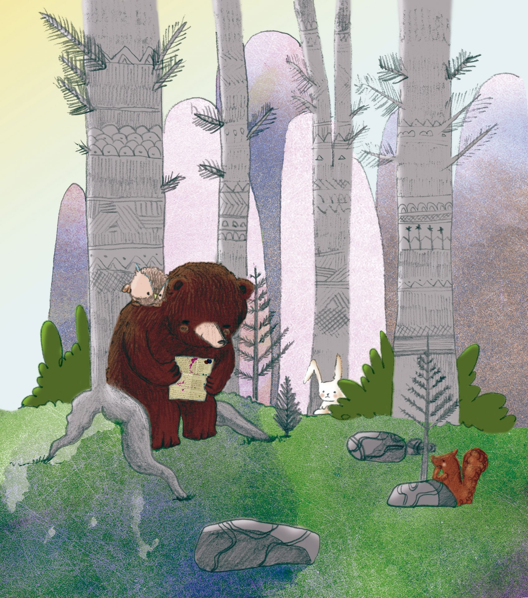 Illustration of a bear reading a book in the forest.