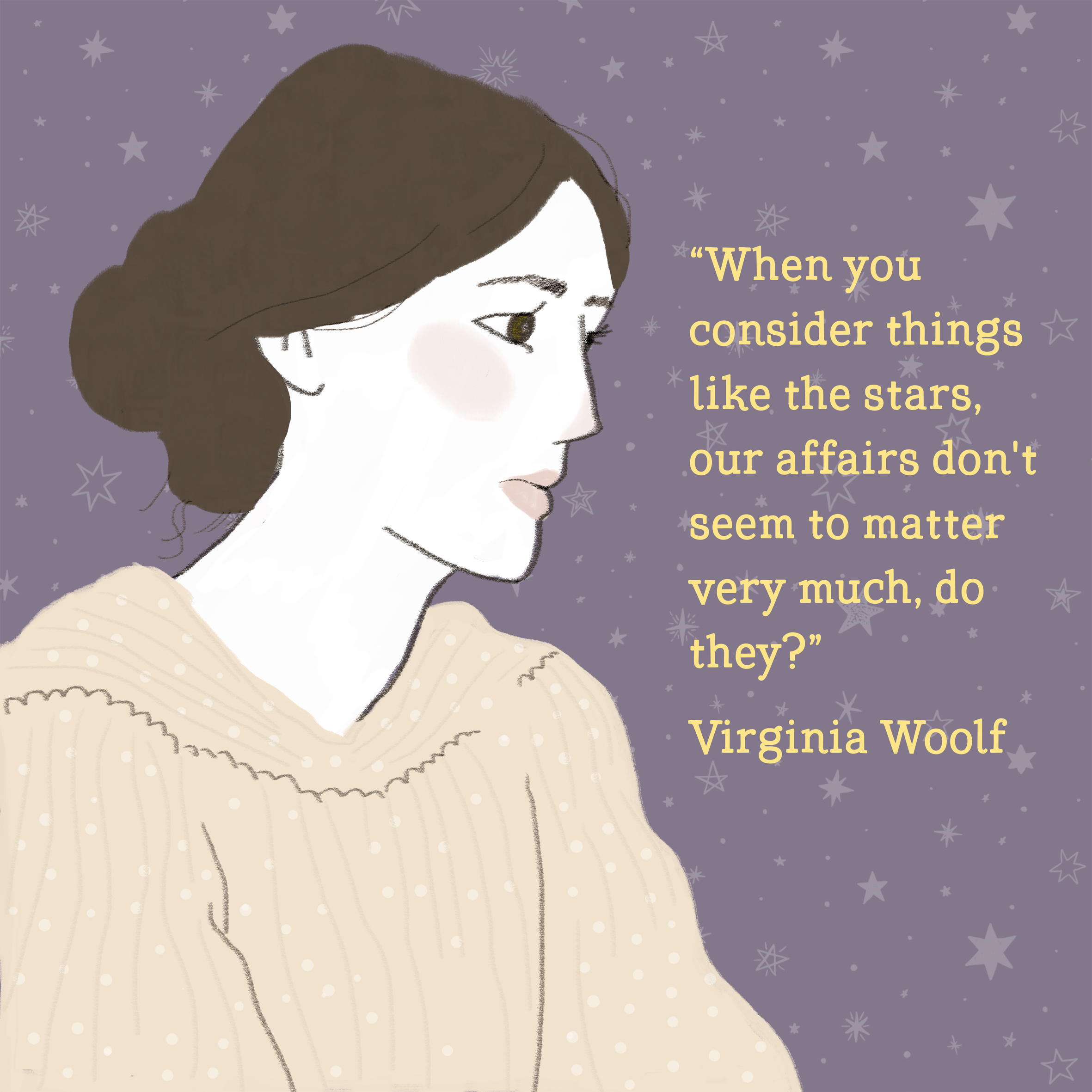 Virginia Woolf Illustration and quote.