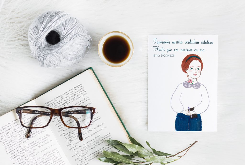 Cita ilustrada con una moderna Emily Dickinson.