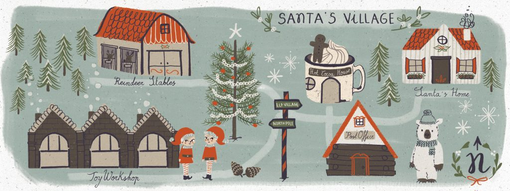 Illustration of Santa's Village.