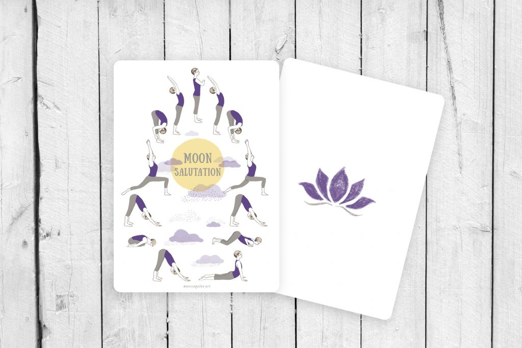 Cards with the Moon Salutation sequence illustrated by Monica Galan