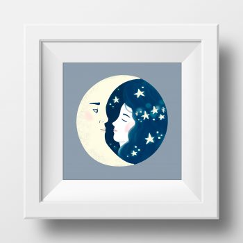 Framed image of an illustration by Monica Galan of a girl kissing the moon.