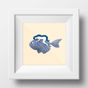 Framed image of an illustration by Monica Galan of a girl ridding a fish.