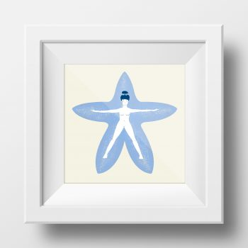 Framed image of an illustration by Monica Galan of a girl into a starfish.