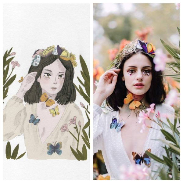 Illustration side by side to the photo it was inspired from, a girl surrounded by butterflies. By Monica Galan Art.