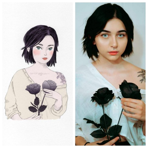 Illustration side by side to the photo it was inspired from, a girl holding black roses. By Monica Galan Art.