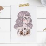 Print of a reinterpretation of an illustration of a grumpy girl.