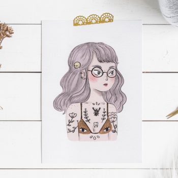 Print of a reinterpretation of an illustration of a grumpy girl.