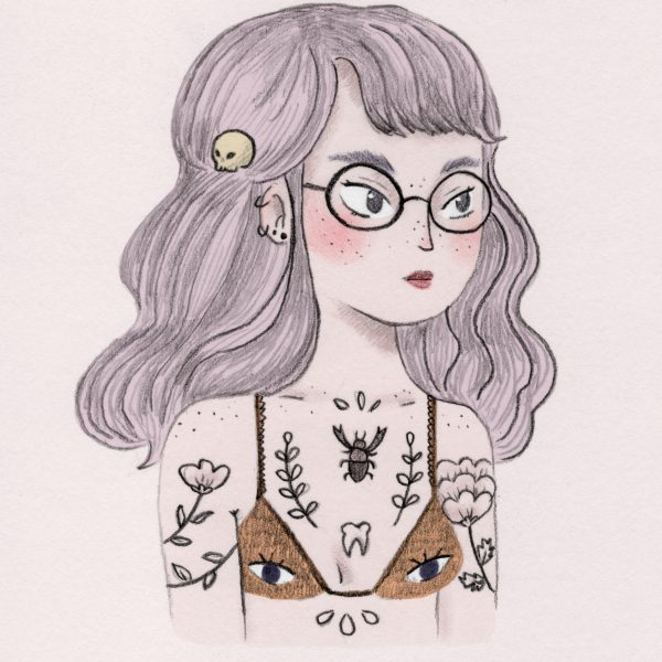 Reinterpretation of an illustration of a grumpy girl.