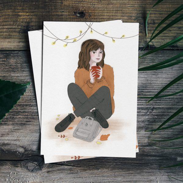 Self portrait illustration of Monica Galan enjoying the first days of Fall.