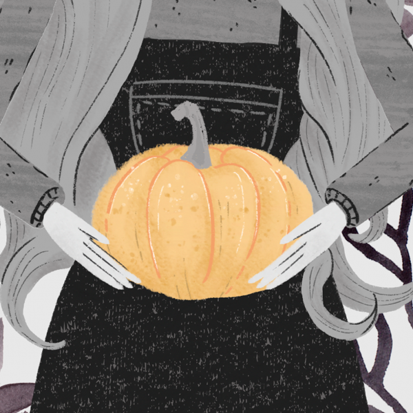 Detail of an illustration of a girl holding a pumpking and haunted by a cute ghost.