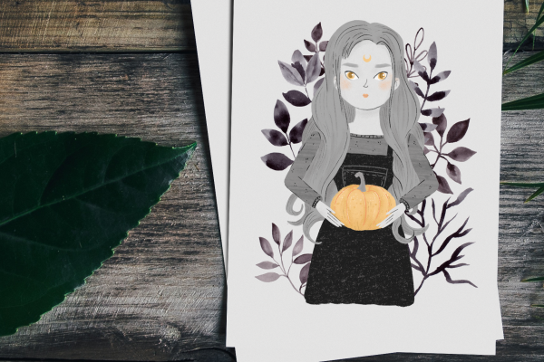 Print of an illustration of a girl holding a pumpking and haunted by a cute ghost.
