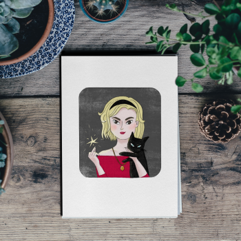 Card with illustration of Sabrina Spellman by Monica Galan
