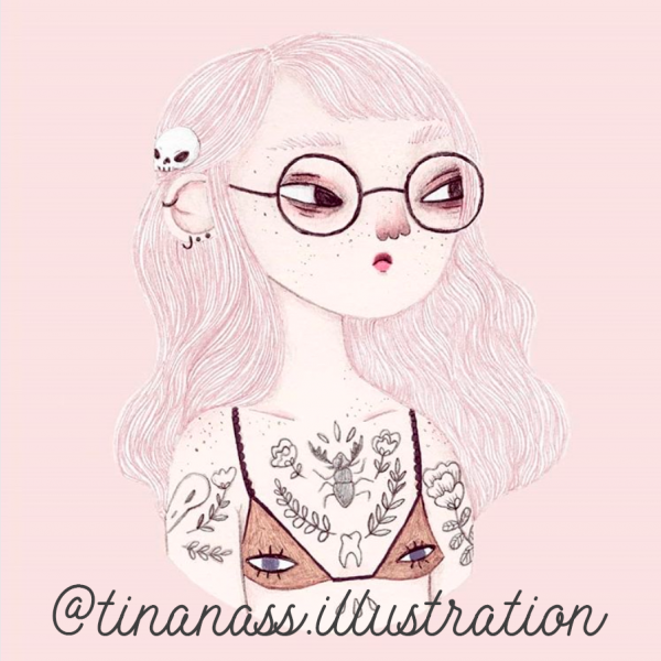 Illustration by tinanass of a grumpy girl.