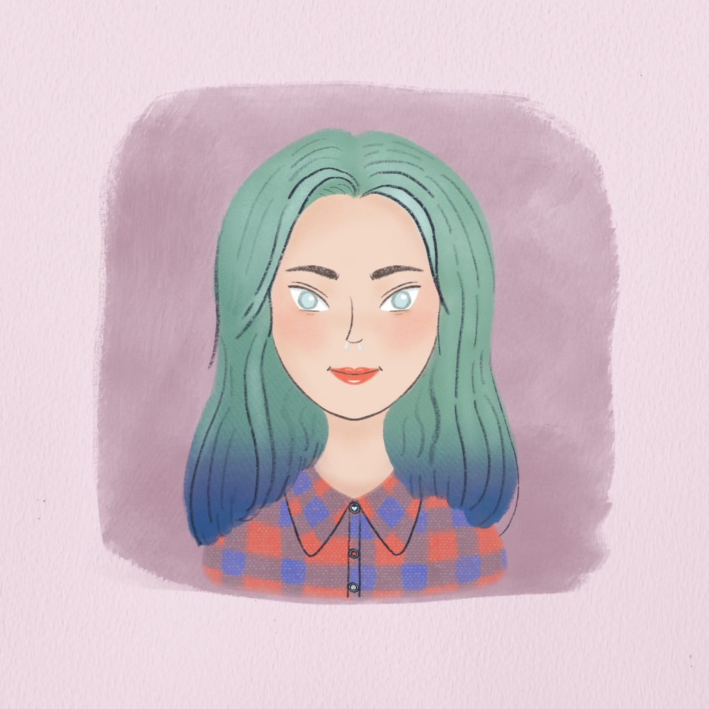Portrait illustration of Amarna Miller with blue hair and a lumber jack shirt.