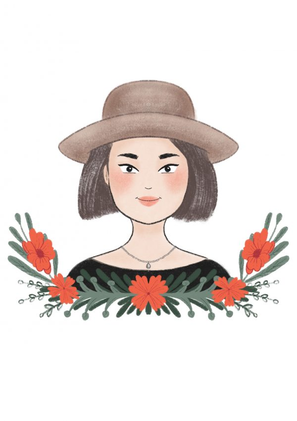 Portrait illustration of a girl with dark hair and a Panama hat.