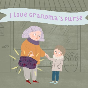 Cover illustration for the children's eBook I love Grandmas Purse.