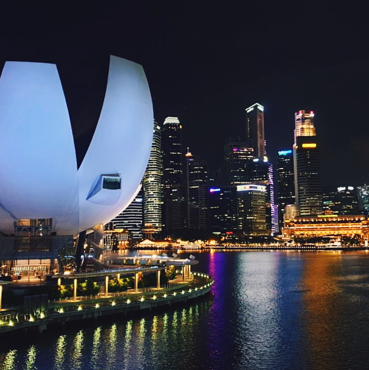 Photo of Marina Bay at night from Monica Galan's Singapur Diaries.