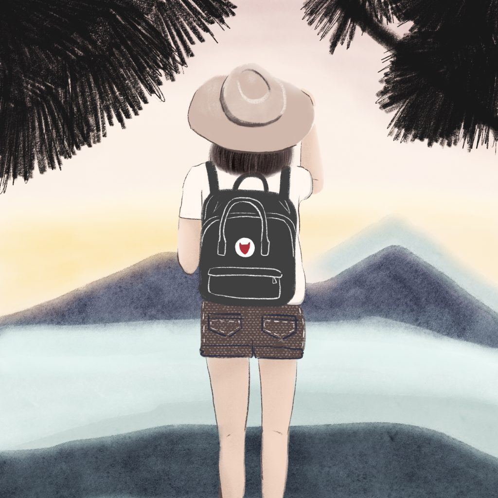 Illustration of a girl with a beige hat and a black backpack, staring at a sunset in a tropical weather, by the illustrator Monica Galan.
