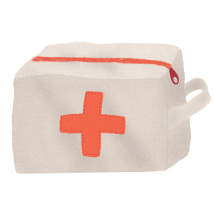 Illustration of a first ais kit bag by Monica Galan.