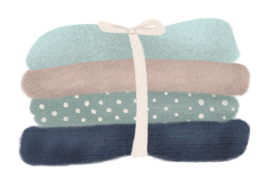Illustration of neatly folded clothes, in blue and beige tones, by Monica Galan.