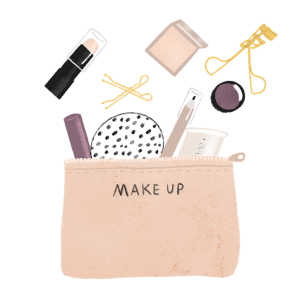 Illustration of a pink make up bag with some items outside by Monica Galan.