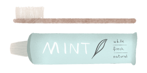 Illustration of a wooden toothbrush and a tube of tooth paste by Monica Galan.