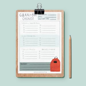 Image of an illustrated carry on planner designed by Monica Galan