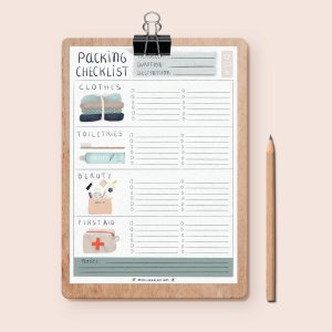Image of an illustrated packing planner designed by Monica Galan