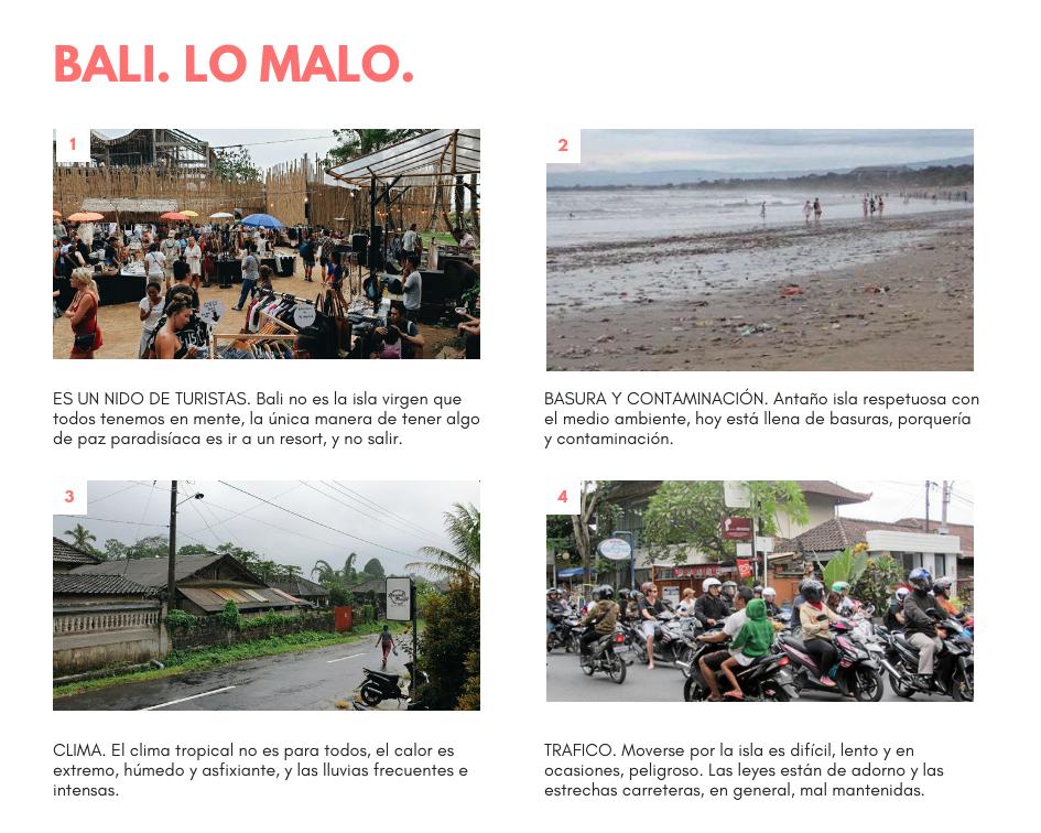 Presentación que recoge puntos en contra de visitar Bali, escrito por Mónica Galán.