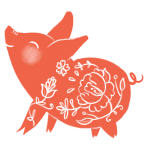 Illustration of a red pig to commemorate Chinese New Year.