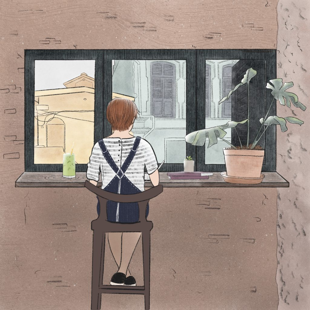 Illustration of a girl sitting on a stool in front of a window, she is drawing. It is located in Georgetown, Malaysia.