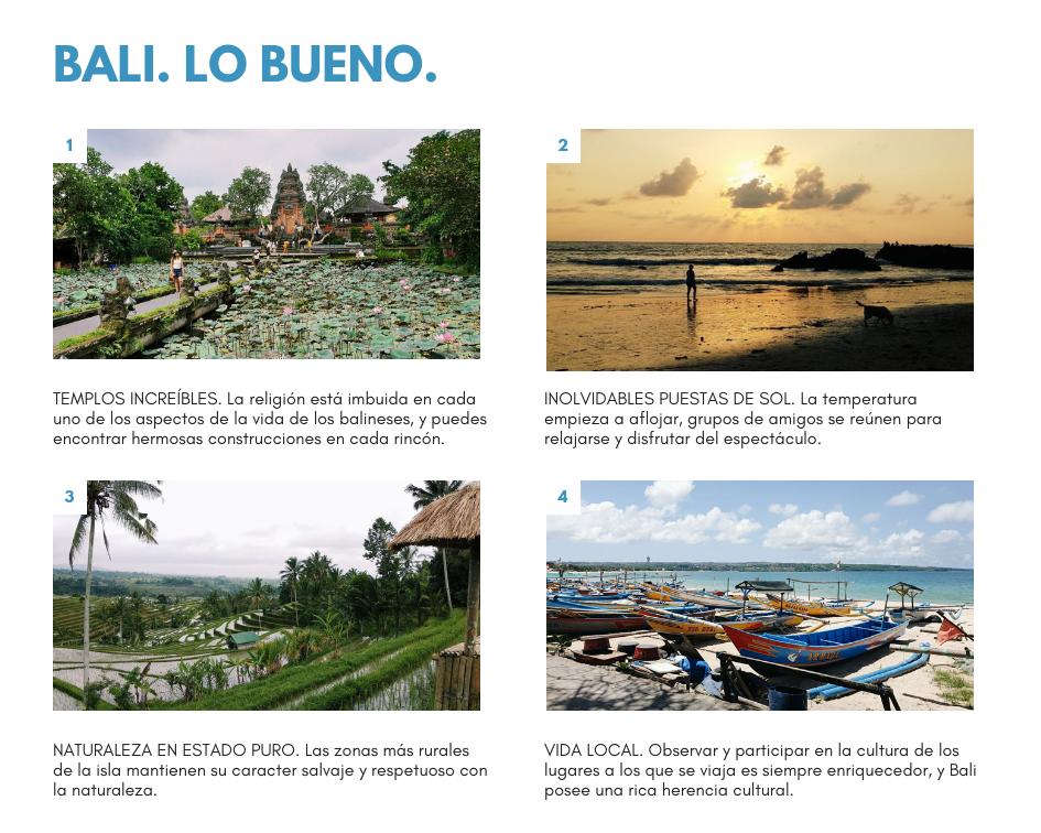 Segunda parte de la presentación que recoge puntos a favor de visitar Bali con fotos.
