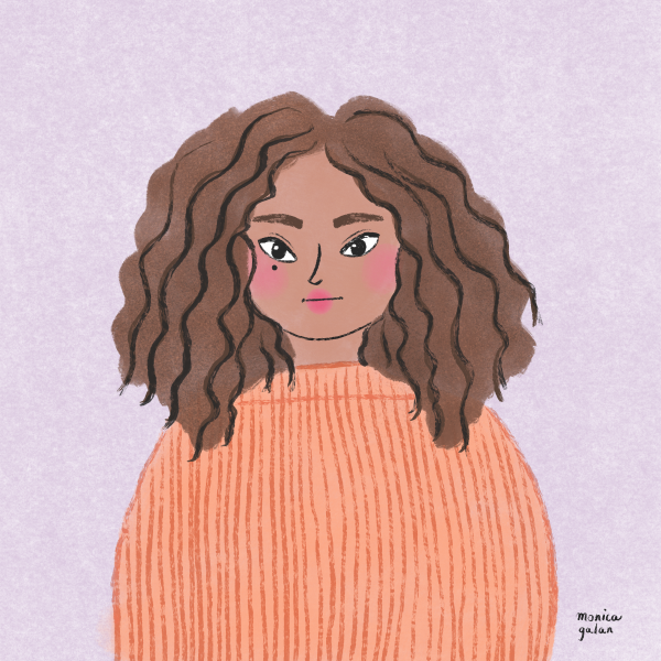 Wild curly hair illustration by Monica Galan
