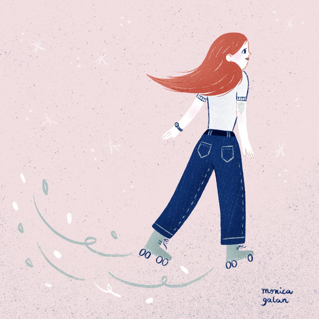 Skater Girl, an illustration by Monica Galan