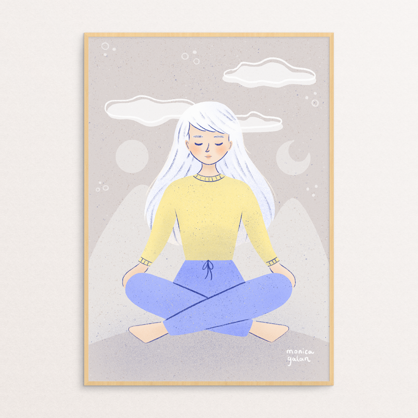 Your thoghts are clouds, framed illustration about meditation by Monica Galan