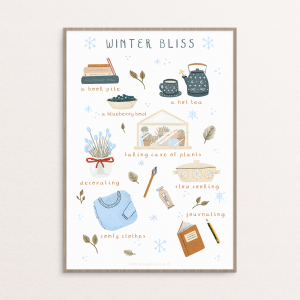 Poster with little winter illustrations by the illustrator Monica Galan