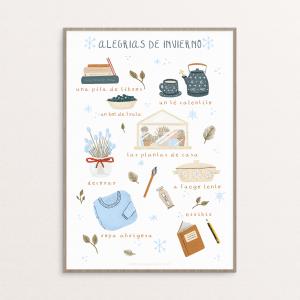 Lámina con pequeñas ilustraciones sobre las alegría que trae el invierno por la ilustradora Monica Galan